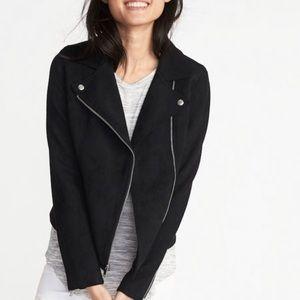Old Navy Women's Faux Suede Black Moto Jacket XL
